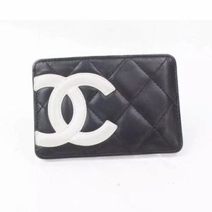 CHANEL Card Holder Cambon Black Leather